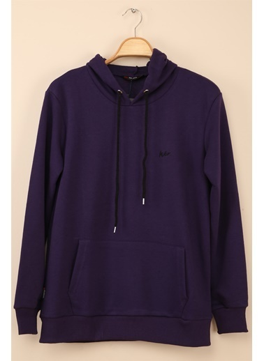 Z Giyim Kapşonlu Pamuklu Basic Sweatshirt Mor